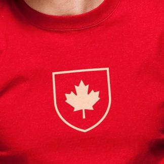 Canada-Shield-T-Shirt Red Model Close