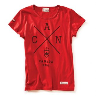 Womens Cross Canada T-shirt, Heritage Red