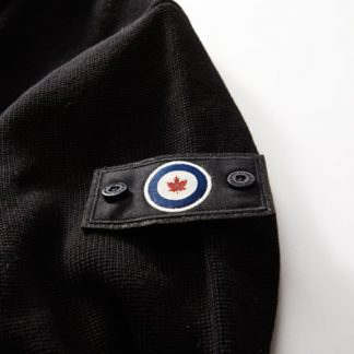 Aviator Cardigan RCAF patch close up